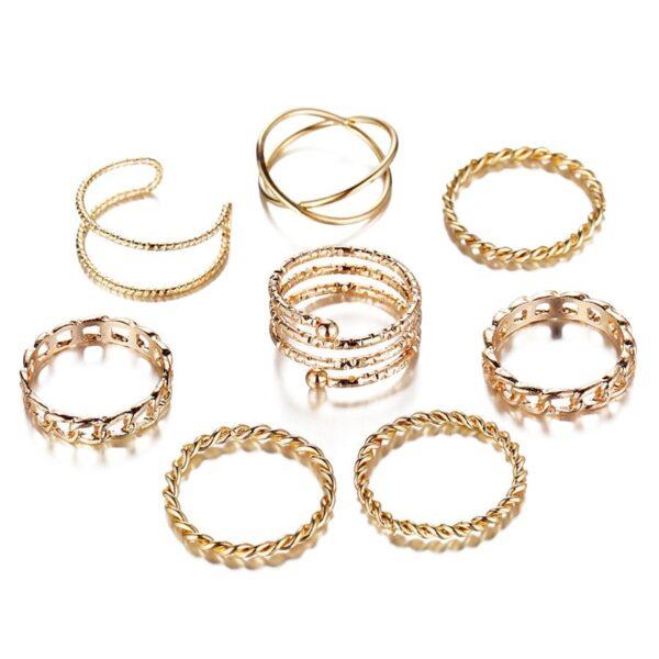 set_Vintage_Punk_Gold_Ring_S
